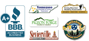 Logos for BBB, Hospitality TN, Pigeon Forge Chamber of Commerce, Sevierville Hospitality Association, Smoky Mountian Wedding Association, and Gatlinburg Hospitality Association